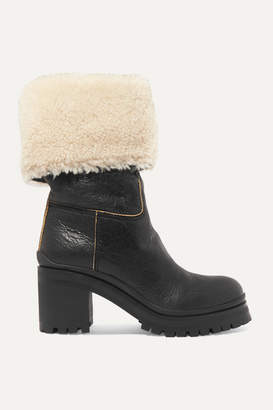 Miu Miu Shearling-trimmed Leather Boots - Black