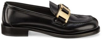 Prada Block-Heel Leather Loafers