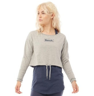 Bench Womens Romy Layered Sweatshirt Grey Marl