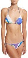Emilio Pucci Maschere Two-Piece String Bikini, White Pattern