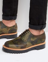 Asos Brogue Shoes In Camo Leather Made In England