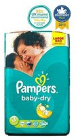 Pampers Baby-Dry Nappies Size 3 Large Bag - 70 Nappies - Pack of 2