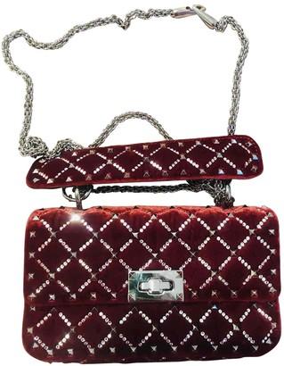 Valentino Rockstud spike Burgundy Velvet Handbags