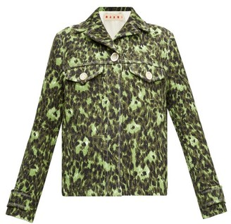 Marni Floral-print Cotton Cloque Jacket - Womens - Green Multi