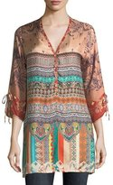 Johnny Was Cavalan Mixed-Print Georgette Blouse, Plus Size