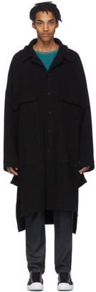 House of the Very Islands Black Wool Capital Coat