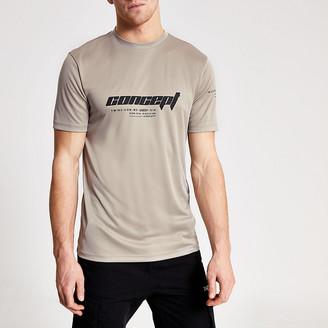 River Island Concept stone slim fit Active T-shirt