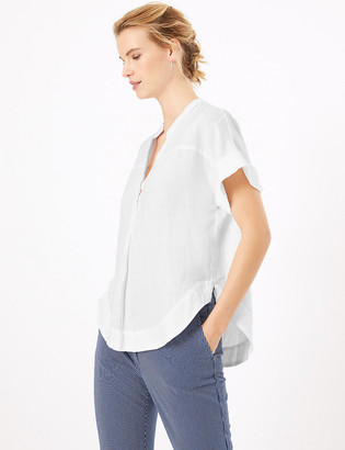 Marks and Spencer Pure Linen Popover Blouse