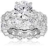 Charles Winston, S Silver, Cubic Zirconia Wedding Ring/Band Set, 4.00 ct. Center, 17.00 ct. tw., Size 6