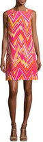 M Missoni Sleeveless Retro Zigzag Silk Shift Dress, Multi