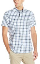 Nautica Men's Classic Fit Wrinkle Resistant Sapphire Plaid Short Sleeve Shirt