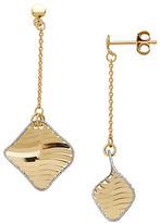 Lord & Taylor 14K PDC Italian Gold Twisted Diamond Drop Earrings