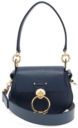 Chloé Tess Small Grained-leather Shoulder Bag - Dark Blue