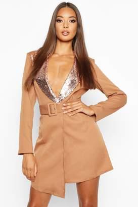 boohoo Self Belt Sequin Collar Blazer Dress