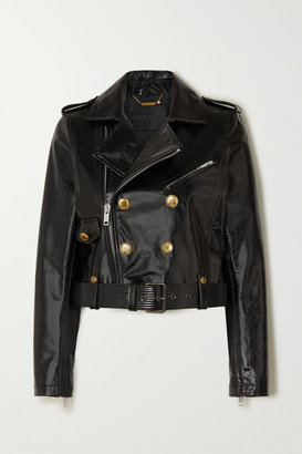 Givenchy Button-embellished Textured-leather Biker Jacket - Black
