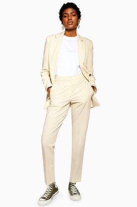 Topshop Womens Cream Suit Trousers - Cream
