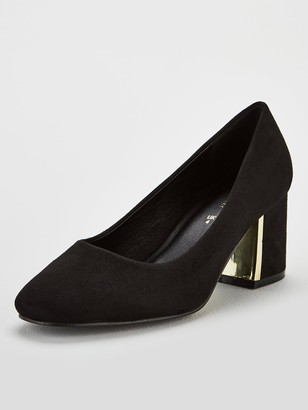 Very Darwin Wide Fit Mid Heel Court Shoes - Black