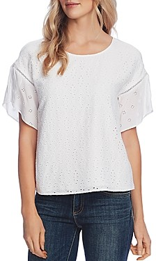 Vince Camuto Eyelet Embroidered Top