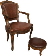One Kings Lane Vintage Tooled Leather Chair & Ottoman