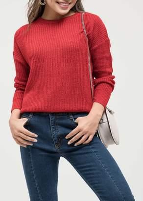 Blu Pepper Back Ribbon Knit Sweater