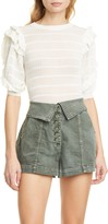 Ulla Johnson Aveline Ruffle Knit Cotton Blend Top