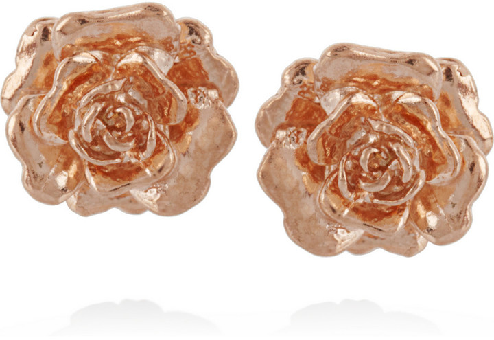 Alex Monroe Rosa 22-karat rose gold-plated stud earrings