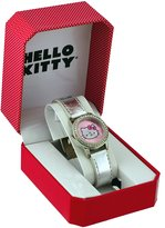 Hello Kitty #HK2827 Women's Silver Leather Band Dial Glitzy Bezel Watch