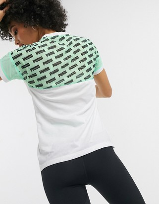 Puma logo mesh t-shirt in white and green