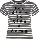 River Island Womens Grey too glam slogan print stripe t-shirt
