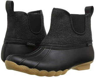 Skechers Mid Herringbone Chelsea Boot (Black/Charcoal) Women's Shoes