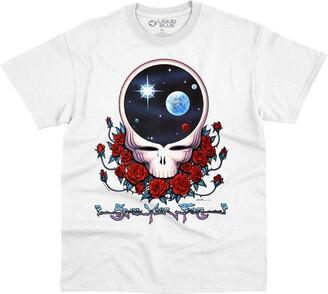 Liquid Blue Unisex Adult Grateful Dead Space Face White T-Shirt T Shirt