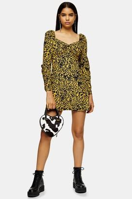 Topshop Womens Yellow Animal Print Mini Tea Dress - Yellow