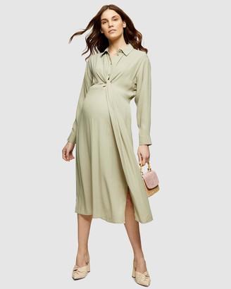 Topshop Maternity Twist Front Midi Dress