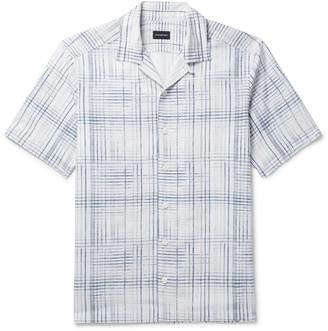 Ermenegildo Zegna Camp-Collar Checked Silk, Linen And Cotton-Blend Shirt