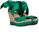 UGG Green Silk/Leather Lucianna Wedges