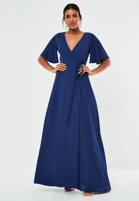 Missguided Navy Crepe V Neck Wrap Maxi Bridesmaid Dress