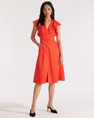 Veronica Beard Sada Ruffled-Sleeve Midi Dress