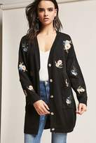 Forever 21 Floral Embroidered Cardigan
