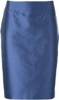 Armani Collezioni metallic pencil skirt - women - Cotton/Polyester/Spandex/Elastane/Mulberry Silk - 42