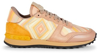 Valentino Print Mixed-Media Suede Leather Runners