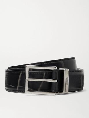 Alexander McQueen 3cm Croc-Effect Leather Belt
