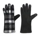 Women's Glove Touch Screen Compatible Black/White Plaid - Sylvia Alexander