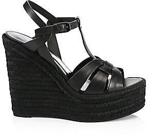 Saint Laurent Women's Tribute Leather Espadrille Wedge Sandals