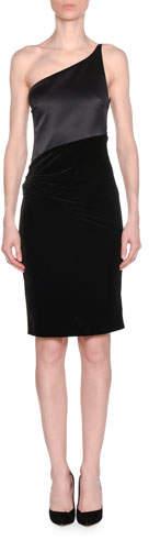 Giorgio Armani One-Shoulder Jersey Top Velvet Bottom Dress