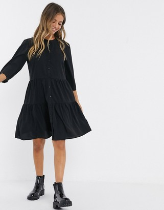 Pieces long sleeve tiered shirt dress-Black
