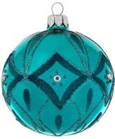 Christmas Shop 8CM BAUBLE GLASS DIAMOND PATTERN SHINY TEAL