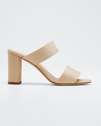 Manolo Blahnik Kalita Woven Block-Heel Slide Sandals