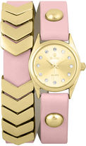 Decree Girls Pink Gold-Tone Chevron Wrap Watch