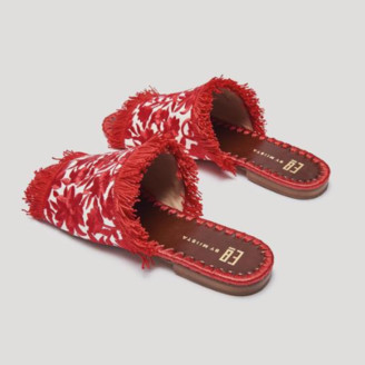 E8 by Miista - Red Cream Tavie Embroidered Sandals - 36 - Red/White