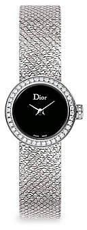 Christian Dior Women's La D De 19MM Black Satine Diamond Watch